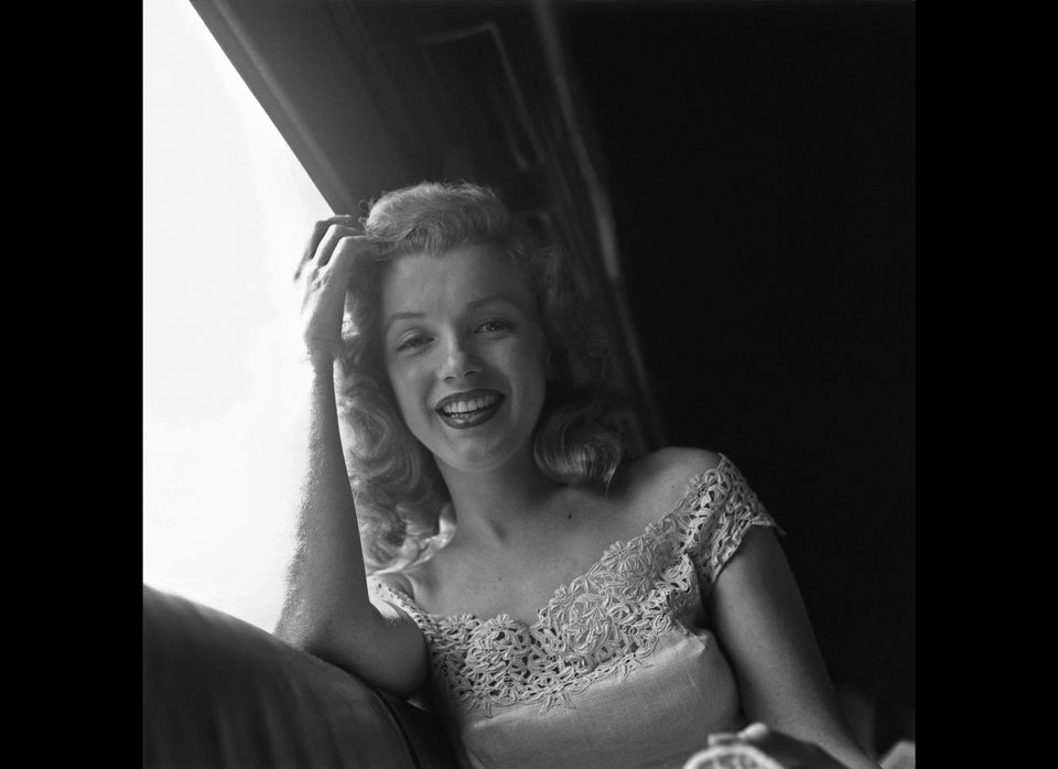 Riding from New York City to Warrensburg, New York in June 1949 to promote her new film 'Love Happy.' In Warrensburg she pres
