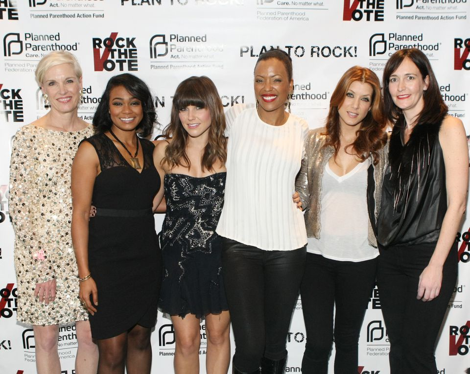 WASHINGTON, DC - JANUARY 20:  (L - R) President of Planned Parent Hood Cecile Richards, Tatyana Ali, Sophia Bush, Aisha Tyler
