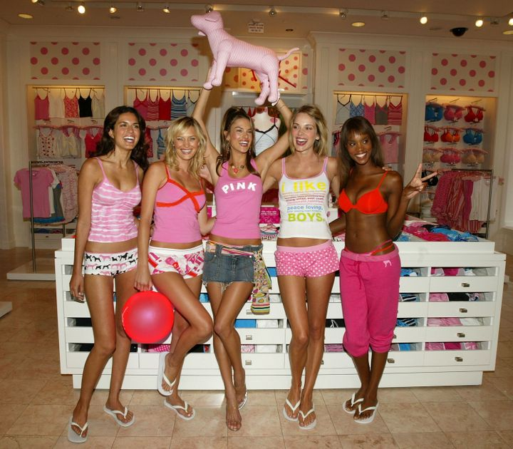LOS ANGELES - AUGUST 5:  Victoria's Secret model Alessandra Ambrosio (C) and Team Pink hosts the 'Launch of Victoria's Secret