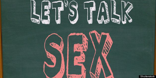 The words Let's Talk Sex on a chalkboard