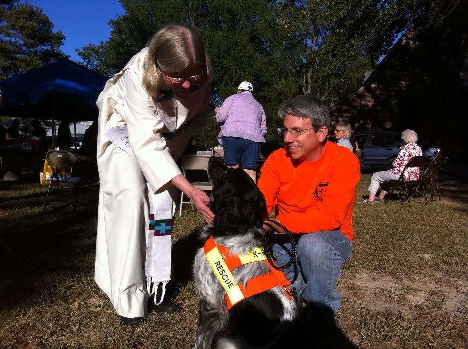 Jessie, one of the search and rescue dogs who is also participating in the ovarian cancer screening trial, being blessed by a