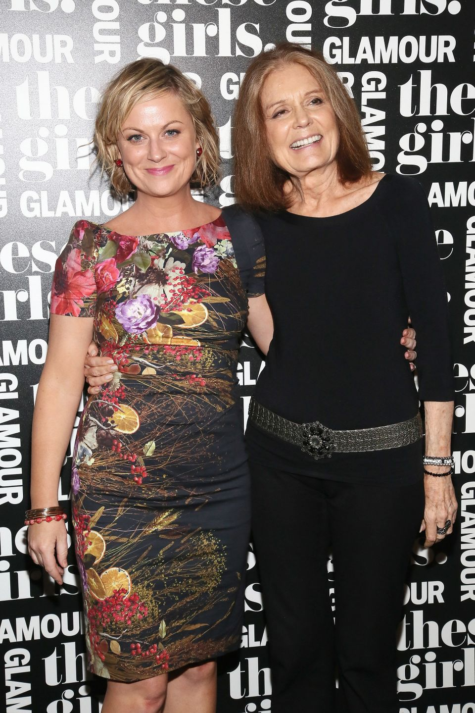 NEW YORK, NY - MAY 20:  Actress and comedian Amy Poehler (L) and journalist Gloria Steinem attend Glamour's presentation of '