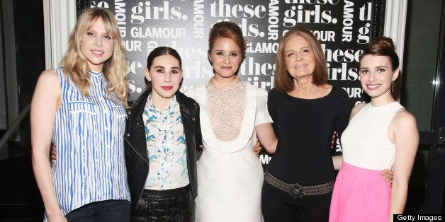 NEW YORK, NY - MAY 20:  (L-R) Actress Lucy Punch, actress Zosia Mamet, actress Dianna Agron, journalist Gloria Steinem, and a