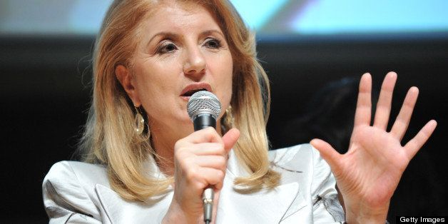 Founder Arianna Huffington delivers a speech during a press conference in Tokyo on May 7, 2013. US news website and aggregato