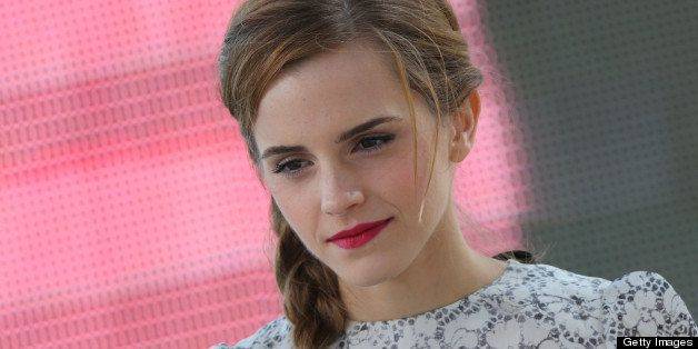 British actress Emma Watson takes part in the TV show 'Le Grand Journal' on the set of French TV Canal+ during the 66th Canne