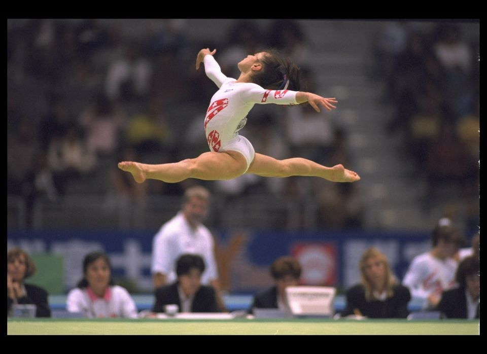 2 OCT 1995:  DOMINIQUE MOCEANU OF THE UNITED STATES IN ACTION DURING THE FLOOR EXCERCISES DURING THE WORLD GYMNASTICS CHAMPIO
