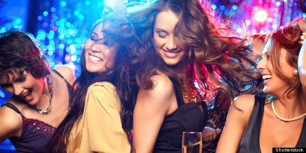 cheerful girls living it up on...