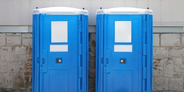 two portable toilet cabins at...