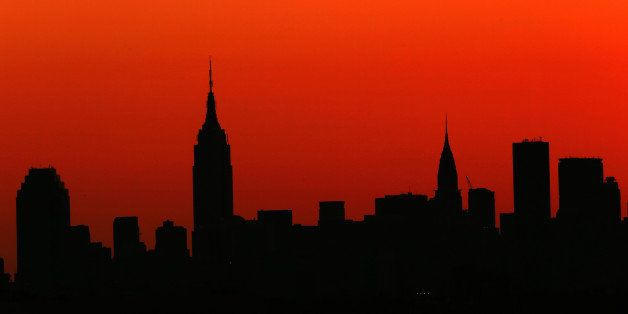 NEW YORK, NY - SEPTEMBER 04: The sun sets over the New York city skyline during a women's singles quarter final match between