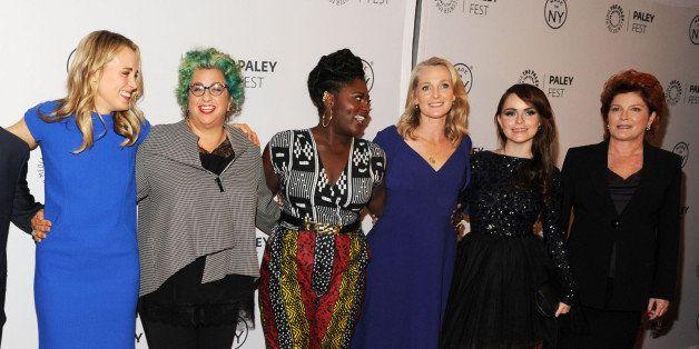 NEW YORK, NY - OCTOBER 02:  The Cast/Crew of Orange Is the New Black: (L-R) Natasha Lyonne, Jason Biggs, Taylor Schilling, cr