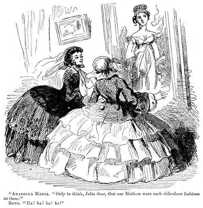 1800's  and the en:1850s in fashion   Victorian fashions of the time : Two girls or young women of 1857 (wearing full crinoli