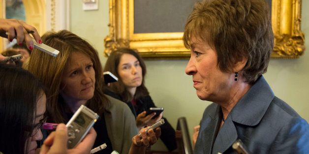 US Senator Susan Collins , R-Maine, talks with reporters after a weekly policy luncheon on Capitol Hill in Washington, DC, Oc