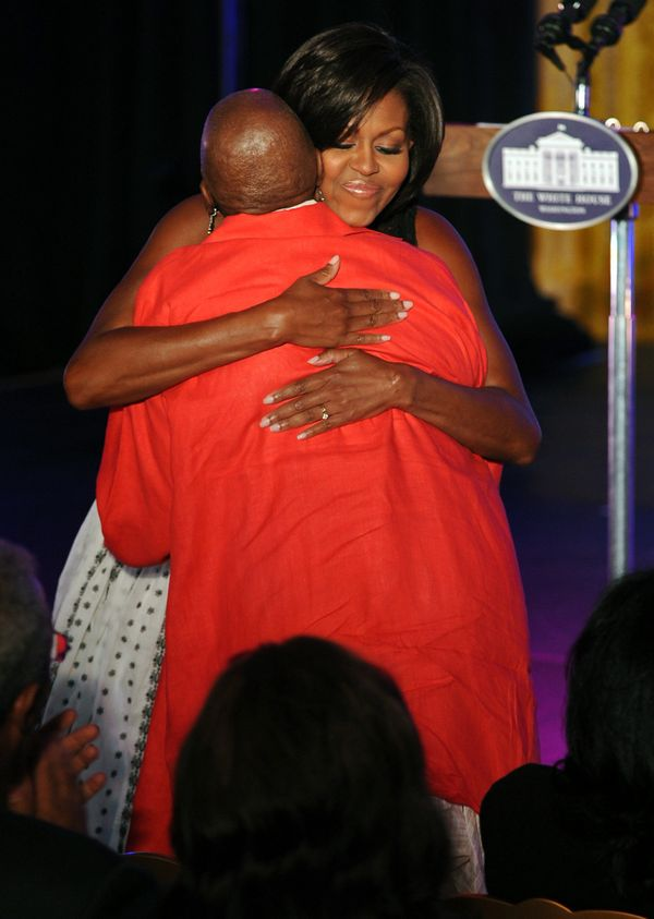She always gives those eyes-closed, everything-else-melts-away hugs. We are very jealous of dance legend Judith Jamison as sh