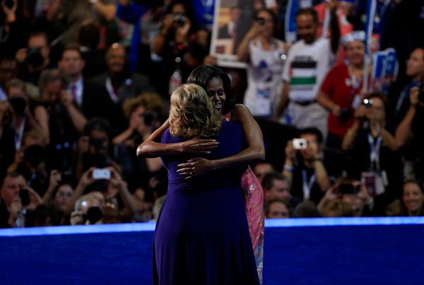 The hug fest continues in North Carolina at the 2012 Democratic National Convention where Michelle pulls military mother Elai