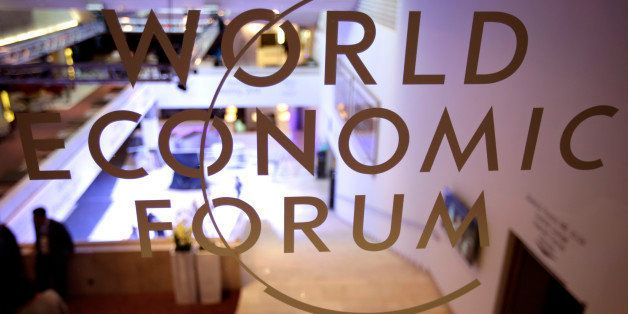 The World Economic Forum (WEF) logo sits on a glass wall inside the Congress Center in Davos, Switzerland, on Monday, Jan. 20