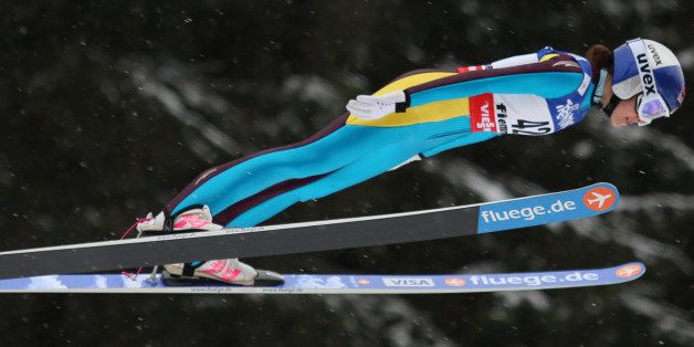 US Sarah Hendrickson soars through the air at the Women's Normal Hill  event of the FIS Nordic World Ski Championships at the