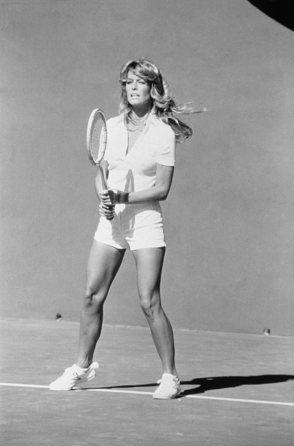 "The ideal 1970s beauty was tanned with flowing hair and a slim, toned body -- an athletic look with minimal or ""natural"" make"