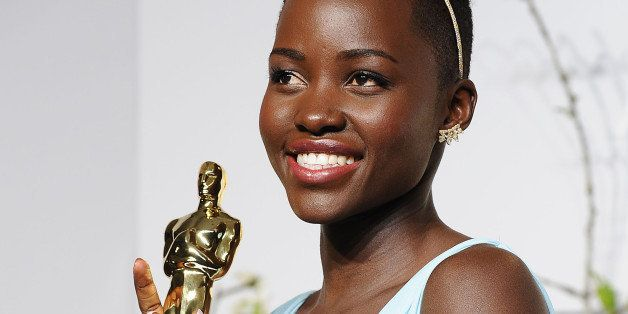 HOLLYWOOD, CA - MARCH 02:  Actress Lupita Nyong'o poses in the press room at the 86th annual Academy Awards at Dolby Theatre