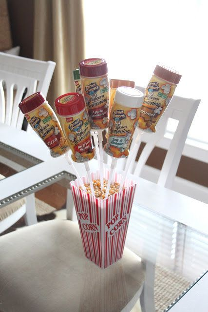 This one's for the advanced crafter, but sure to be a hit with a movie-loving mom. Fill up a popcorn box with a styrofoam squ
