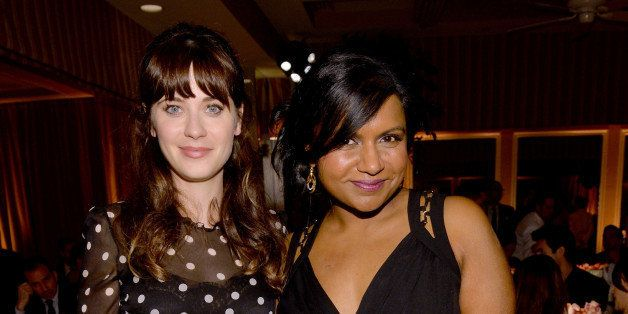 WEST HOLLYWOOD, CA - JANUARY 22:  Actresses Zooey Deschanel (L) and Mindy Kaling attend ELLE's Annual Women in Television Cel