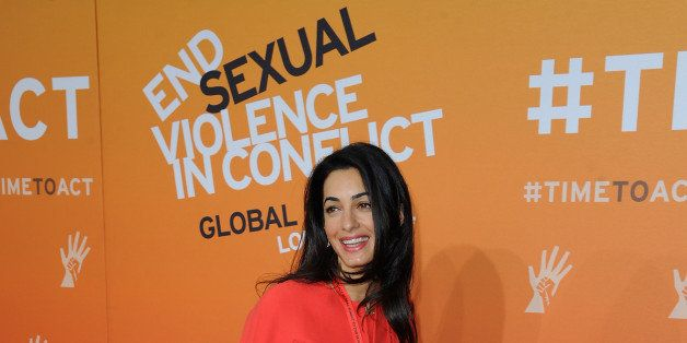 LONDON, ENGLAND - JUNE 12:  Amal Alamuddin, Fiance of Actor George Clooney attends the Global Summit to End Sexual Violence i