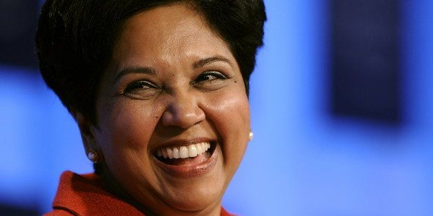 PepsiCo Chairman and CEO Indra Nooyi smiles during a session untitled 'Technology for Society' on the third day of the World
