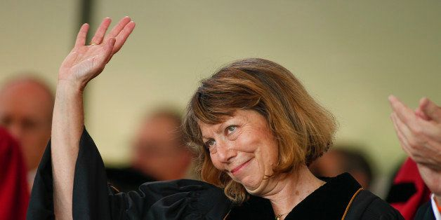 WINSTON SALEM, NC: Jill Abramson, former executive editor at the New York Times waves after speaking during commencement ceremonies for Wake Forest University on May 19, 2014 in Winston Salem, North Carolina. Abramson delivered the commencement address at the university, her first public remarks since she was abruptly fired from her position last Wednesday. (Photo by Chris Keane/Getty Images)