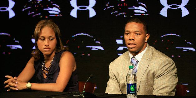 OWINGS MILLS, MD - MAY 23:  Running back Ray Rice of the Baltimore Ravens addresses a news conference with his wife Janay at