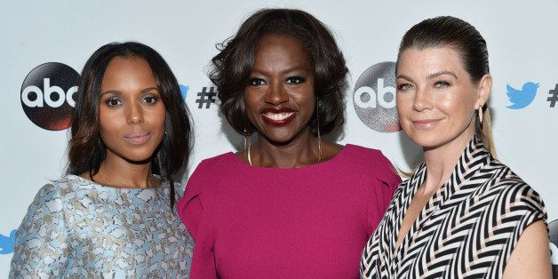 WEST HOLLYWOOD, CA - SEPTEMBER 20:  Actresses Kerry Washington, Viola Davis and Ellen Pompeo arrive at the #TGIT Premiere Eve