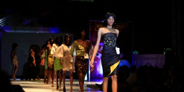 Models display outfits by  designer Deola Sagoe during Nigeria's Next Top Supermodel competition in Lagos, Nigeria, Sunday, N