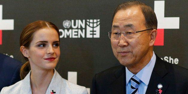 NEW YORK, NY - SEPTEMBER 20:  UN Women Goodwill Ambassador Emma Watson (L ) looks at United Nations Secretary General Ban Ki-