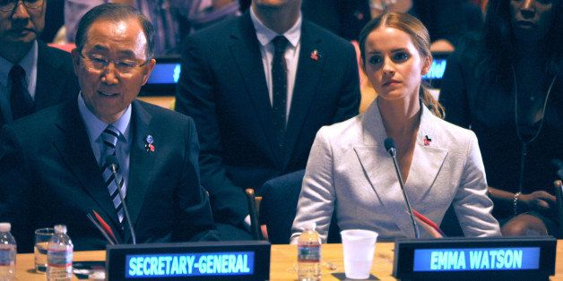 NEW YORK, NY - SEPTEMBER 20:  Emma Watson, Ban Ki-Moon attends the launch of the HeForShe Campaign at the United Nations on S