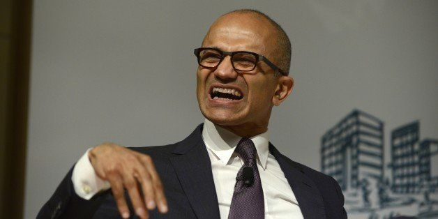 BEIJING, CHINA - SEPTEMBER 25:  (CHINA OUT) CEO of Microsoft Satya Nadella gives a lecture about dream, struggle and creation