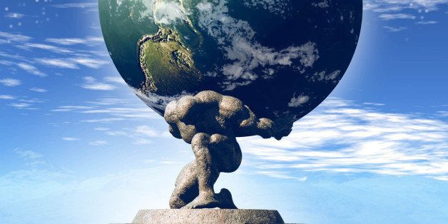 USA - 2008:  Rick Nease color illustration of Atlas supporting planet earth on his back. (Detroit Free Press/MCT via Getty Im