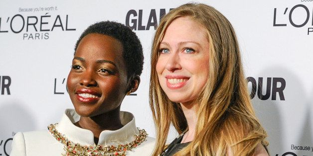 Lupita Nyong'o, left, and Chelsea Clinton attend the 2014 Glamour Women of the Year Awards at Carnegie Hall on Monday, Nov. 1