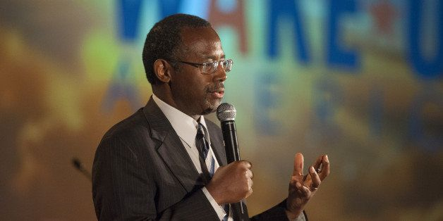 SCOTTSDALE, AZ - SEPTEMBER 5: Dr. Ben Carson speaks as the keynote speaker at the Wake Up America gala Event September 5, 201