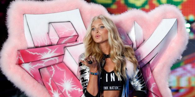 LONDON, ENGLAND - DECEMBER 02: Elsa Hosk walks the runway at the annual Victoria's Secret fashion show at Earls Court on Dece