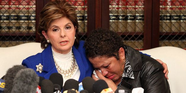LOS ANGELES, CA - DECEMBER 03:  Attorney Gloria Allred (L) speaks at a press conference with Chelan (R), an alleged victim of
