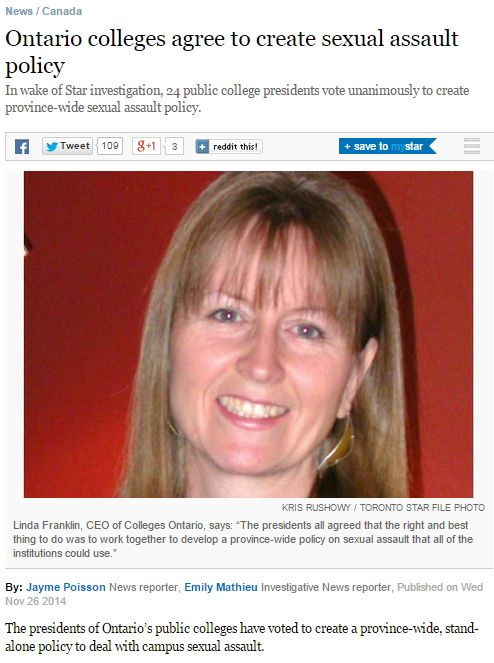 """<a href=""""http://www.thestar.com/news/canada/2014/11/26/ontario_colleges_agree_to_create_sexual_assault_policy.html/"""" target="""""""