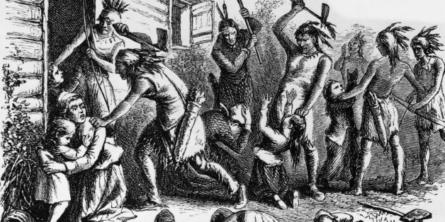 circa 1850:  Indians attack and murder American religious reformer Anne Hutchinson (1591 - 1643) and her family in Pelham Bay