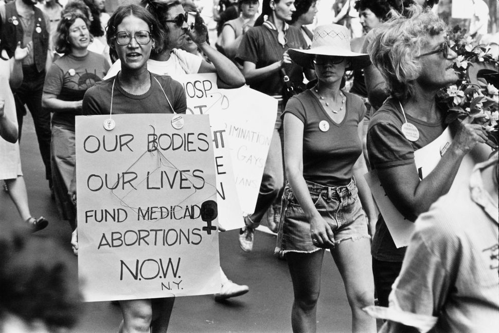 <strong>1980:</strong> Pro-abortion rights protestors at a People's Convention in New York City, before the start of the Demo