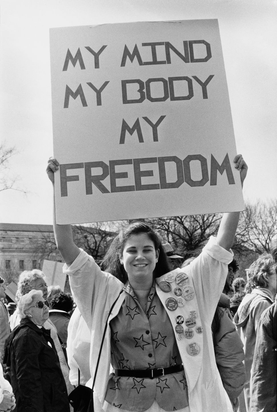 <strong>1986:</strong> Pro-abortion rights campaigners at a National March For Women's Lives in Washington DC, 9th March 1986