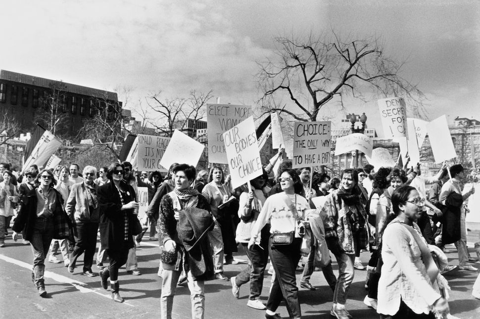 <strong>1986:</strong> Pro-choice campaigners at a National March For Women's Lives in Washington DC, 9th March 1986. (Photo
