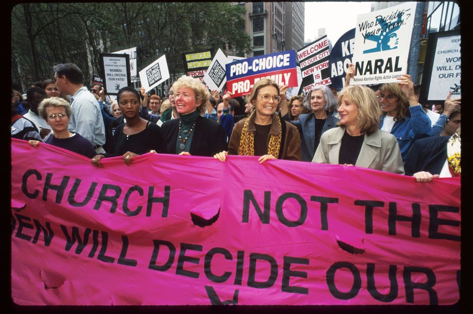<strong>1995:</strong> National Abortion and Reproductive Rights Action League leader Kelli Conlin, feminist Gloria Steinem,