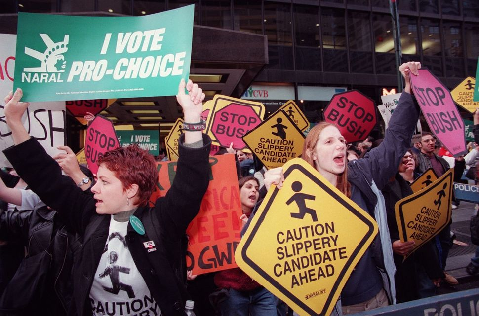 <strong>1999: </strong> Protesters organized by the National Abortion and Reproductive Rights Action League demonstrate acros