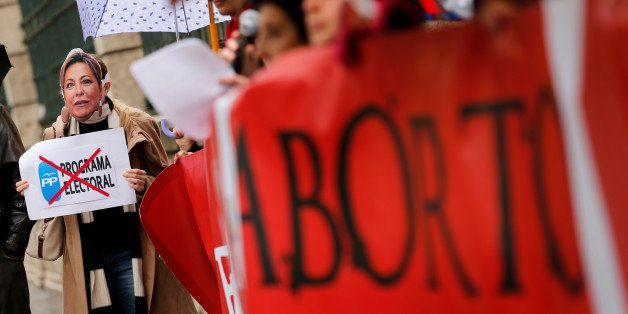Pro-life supporters from 'Derecho a vivir' (The right to live) association protest during a demonstration against abortion in