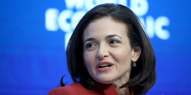 Sheryl Sandberg, billionaire and chief operating officer of Facebook Inc., speaks during a session on day two of the World Ec