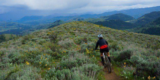 Biking in the Methow Valley, Washington.