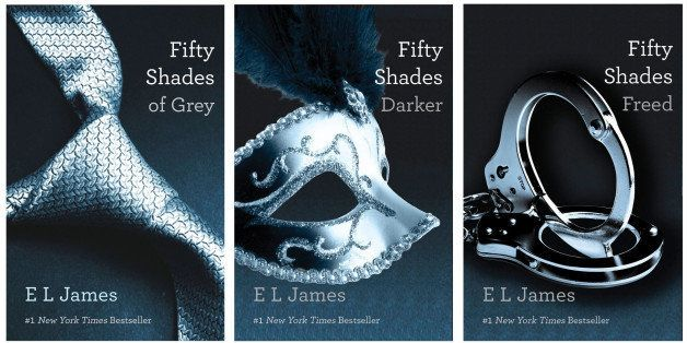 "FILE- This file combo made of book cover images provided by Vintage Books shows the ""Fifty Shades of Grey"" trilogy by best-se"