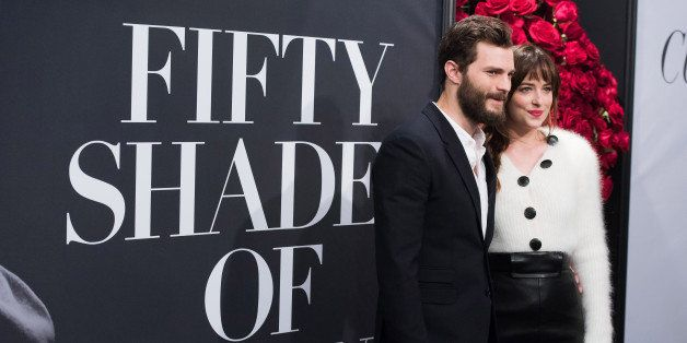 "Jamie Dornan and Dakota Johnson attend a special fan screening of ""Fifty Shades of Grey"" hosted by The Today Show at the Zieg"